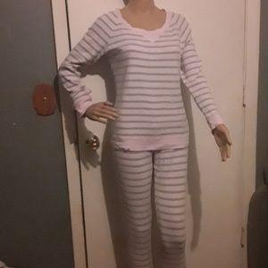 Victoria Secret gray and pink thermal pajamas